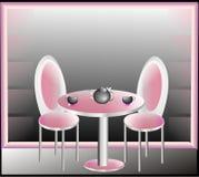 Pink room. Original interior, round table Royalty Free Stock Image