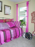 Pink room. Girls bedroom with pink accessories Royalty Free Stock Photo