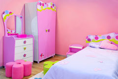 Pink room. Interior of girls room all in pink Royalty Free Stock Images