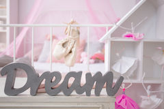 Pink room of girl`s dreams. With stylish dollhouse Royalty Free Stock Photography