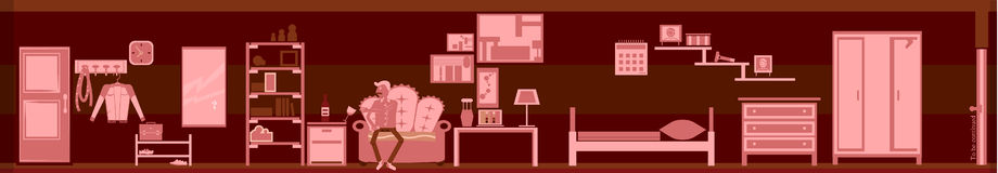 Pink Room tired and melancholic person Stock Photo