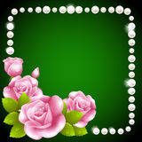 Pink Rose And Pearls Frame Stock Photos