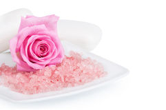 Pink rose and aromatic salt Royalty Free Stock Photo