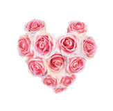 Pink rose arranged in heart shape isolated Royalty Free Stock Photography