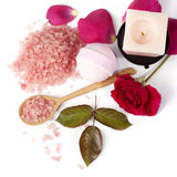 Pink rose with bath salt and candle Stock Images