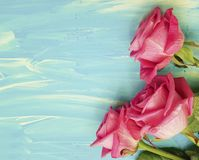 Pink rose on a blue wooden border background spring beauty birthday. Pink rose on a blue wooden background beauty space dayn birthday   spring border Royalty Free Stock Photo