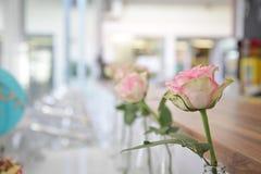 Pink Rose on Bottle Decor Stock Photo