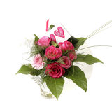 Pink rose bouquet. With heart greeting card Stock Images