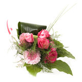 Pink rose bouquet. With heart greeting card Stock Photos