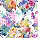 Pink rose bouquet floral botanical flowers. Watercolor background illustration set. Seamless background pattern. stock illustration