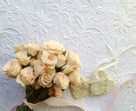 Pink rose bouquet with hearts Stock Photo