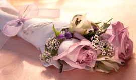 Pink rose bouquet with ribbon Stock Photos