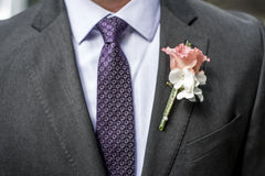 Free Pink Rose Boutonniere Flower Groom Wedding Coat With Tie Shirt Royalty Free Stock Photo - 93901695