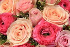 Pink rose bridal bouquet Stock Photo