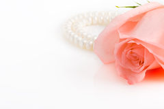 Pink rose bud with pearl necklace Stock Images