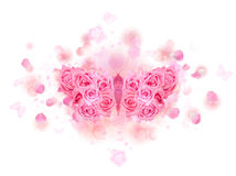 Pink rose butterfly buds. Mirrored butterfly with spreading wings, made of pink roses, on a soft background of bokeh particles, flying petals and rose buds, on Stock Images