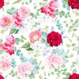 Pink rose, camellia, red dahlia, hydrangea, blue succulents, whi. Te freesia, silverberry, mint eucalyptus, brunia pattern on white. Seamless vector print stock illustration