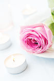 Pink rose with candles Stock Photos