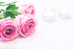 Pink rose with candles Royalty Free Stock Images