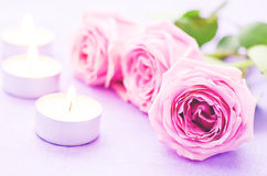 Pink rose with candles Stock Images