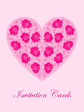 Pink rose card. Pink rose in heart shape royalty free illustration