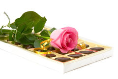 Pink rose and chocolate box Royalty Free Stock Photo