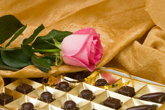 Pink rose and chocolate box Stock Photography