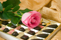 Pink rose and chocolate box. On a yellow background Royalty Free Stock Images