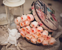 Pink rose composition in box retro style Royalty Free Stock Photos