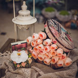 Pink rose composition in box retro style Royalty Free Stock Photo