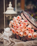Pink rose composition in box retro style Royalty Free Stock Image