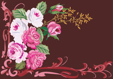 Pink rose corner pattern. Illustration with pink rose corner decoration Royalty Free Illustration