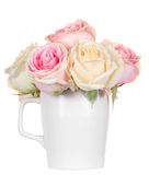 Pink rose in a cup isolated Stock Photos