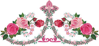 Pink rose decorated ornament band Royalty Free Stock Image