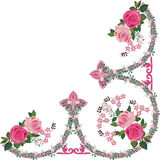 Pink rose decorated ornament corner Royalty Free Stock Image