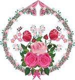 Pink rose decorated ornament element Royalty Free Stock Photography