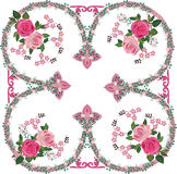 Pink rose decorated ornament square Stock Photography