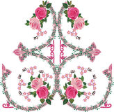 Pink rose decorated ornamental pattern Stock Photography