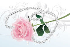 Pink rose and diamond necklace Stock Photos