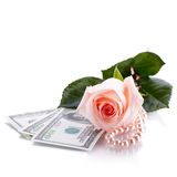 Pink rose, Dollars and pearl beads. Royalty Free Stock Photography