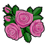 Pink Rose Embroidery Patch. Roses embroidery patch. Needlework textile decor on white background royalty free illustration