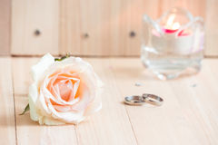 Pink Rose, Engage Ring and candlestick, Valentines Stock Photo