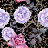 Pink rose. Floral botanical flower. Seamless background pattern. Fabric wallpaper print texture. Aquarelle wildflower for background, texture, wrapper pattern stock illustration