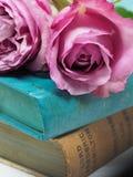 Pink Rose Flower on Blue Hardbound Books Stock Photos