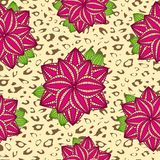 Pink Rose Flower Leopard Seamless Pattern Stock Photos