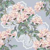 Pink rose flower, openwork, watercolor, pattern seamless Stock Photo