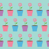 Pink rose flower in pot. Seamless Pattern Wrapping paper, textile template. Blue background. Flat design. Vector illustration Royalty Free Stock Photos