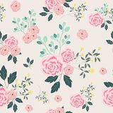 Pink rose flower seamless pattern stock images