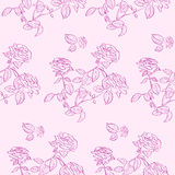 Pink Rose Flower Seamless Pattern Background Stock Photos
