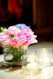 Pink rose flower in a vase. Royalty Free Stock Images